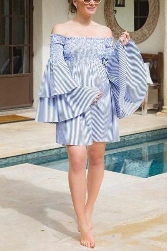 Maternity One-Neck Striped Horn Sleeve Dress