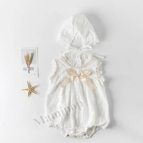 New Summer Girls' Baby Bow Halter Cotton Sleeveless One Piece Creeper