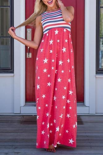 Maternity Stripe Star Maxi Tank Dress