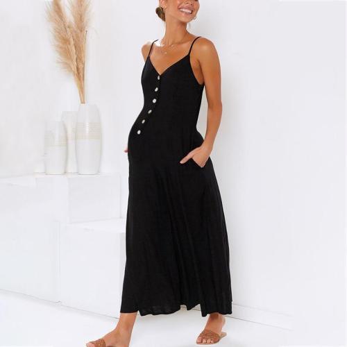 Maternity Plain V-Neck Spaghetti Strap Button Jumpsuit