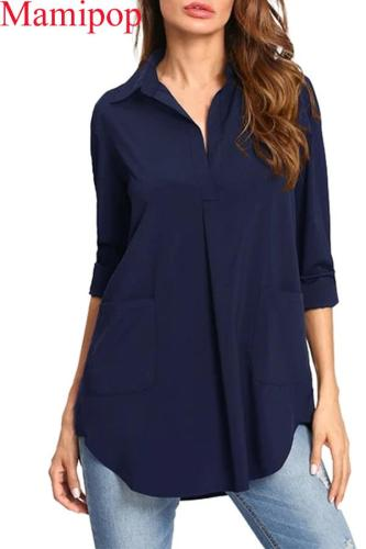 Sexy V Neck Long Sleeve Asymmetric Pockets Maternity Tops