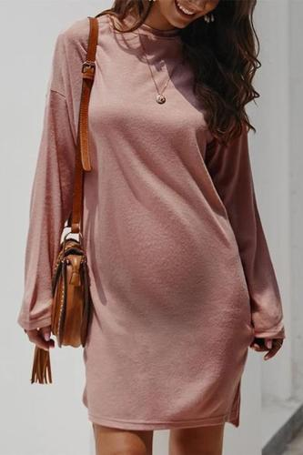 Maternity Pure Color Long Sleeve Slit Dress