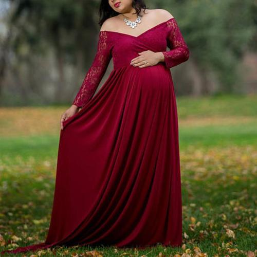Maternity Casual Lace Long Sleeves Dress