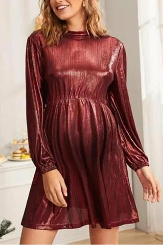 Maternity Christmas Round Neck Solid Color Dress