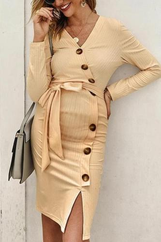 Maternity V Neck Long Sleeve Pure Color Dress