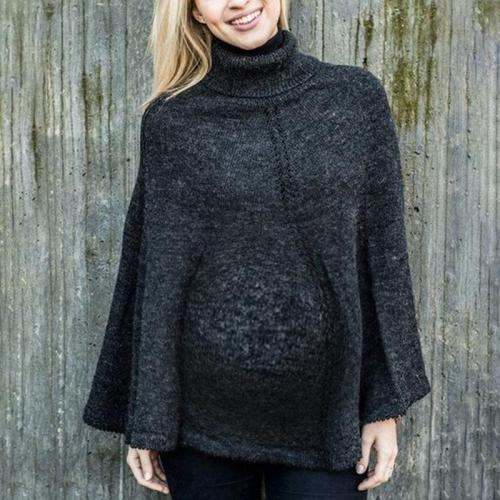 Maternity Streetwear Pure Color High Collar Sweater
