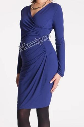 Blue Deep V Neck  Long Sleeve Maternity Dress