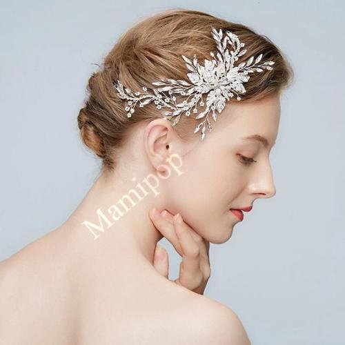 Silver Floral Wedding Hair Clip Crystal Bridal Hair Jewelry