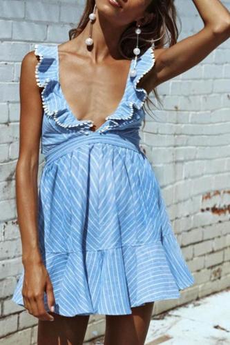 Maternity Deep V-Neck Stripe Falbala Dress