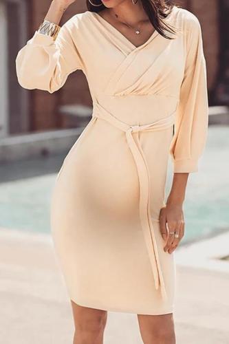 Maternity Elegant Pure Color V Neck Dress