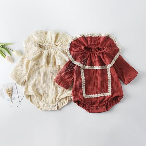 New Girl Baby Lace Collar Bag Fart Hae Cotton Long-Sleeved Jumpsuit