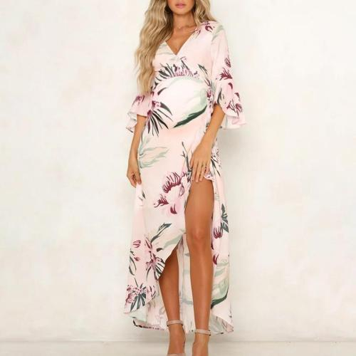 Maternity V-Neck Printing Maxi Dress