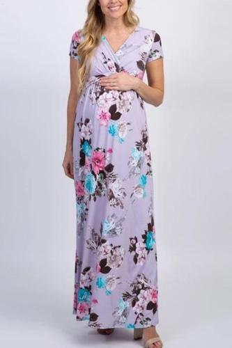 Maternity Short Sleeve V Neck Printed Dress