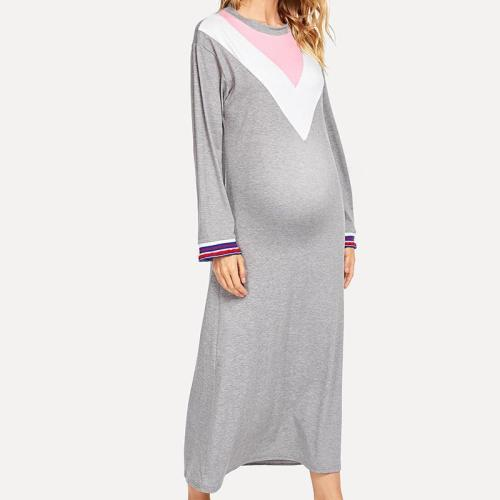 Manternity Round Neck Long Sleeve Dress