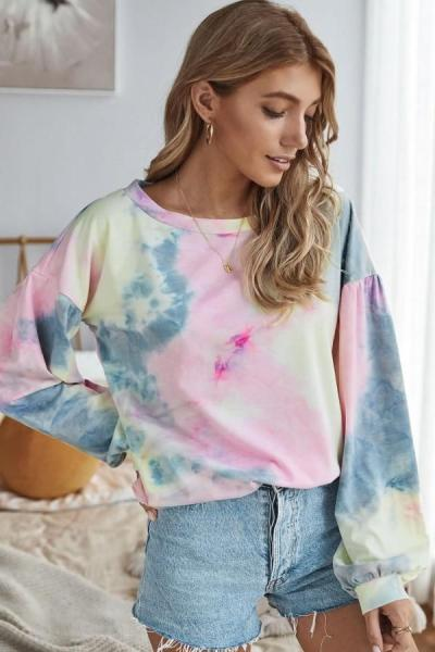 Cross-border new Asian tie-dyed round neck bubble long sleeve casual T-shirt pullover in autumn 2020
