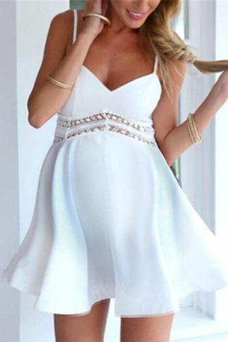 Maternity Waist Lace Stitching Sling Dress