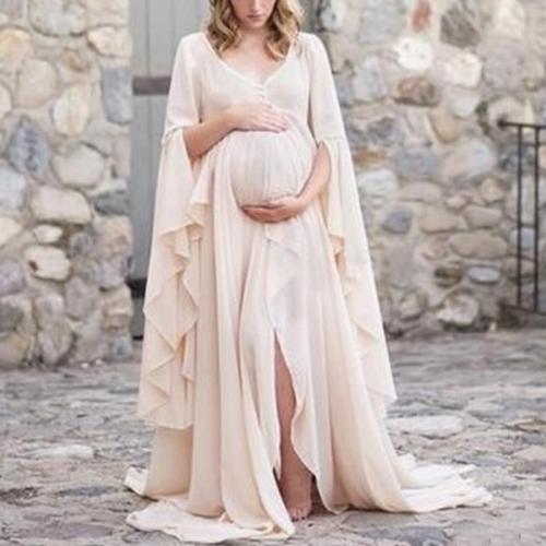 Maternity Slit Pure Color Dress