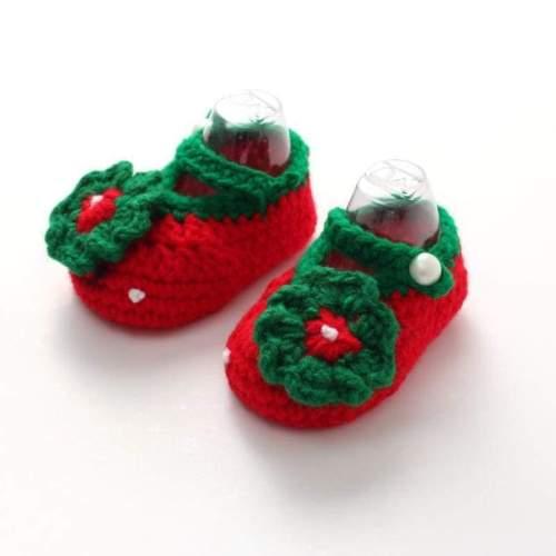 Baby Girls Crochet Handmade Knit Shoes