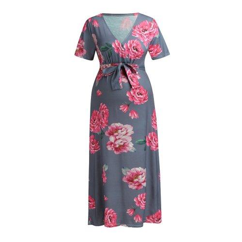 2020 new V collar printing belt long dress pregnant women's dress