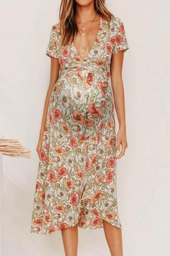 Maternity Deep V Short Sleeves Floral Pattern Long Dress