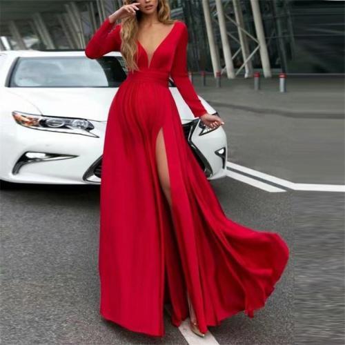 Maternity Sexy Solid Color Deep V-Neck Long Sleeve Split Maxi Dress