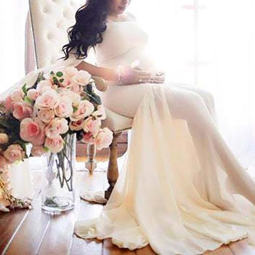 Maternity Sexy Word Collar Lace Stitching Irregular Long Sleeve Dress