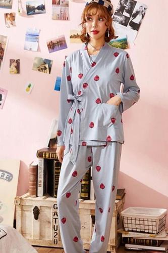 3Piece spring fall pregnant nursing pajamas