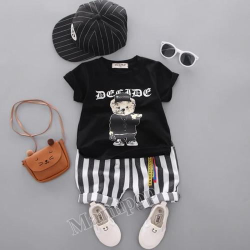Boys' Kit 2020 Children's Cartoon Short-sleeved Baby Casual Striped Shorts Two sets