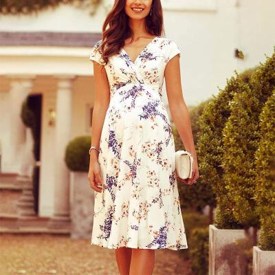 Maternity Elegant V Neck Printed Colour Dress