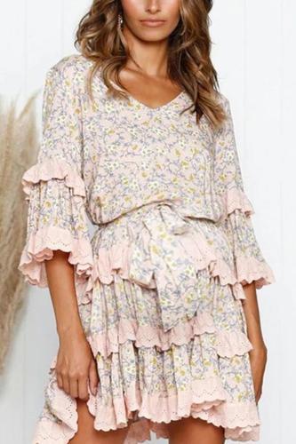 Maternity Fashion Casual Print Dress Layered Ruffled Princess Dress