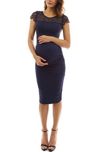 Maternity Lace Round Neck Midi Dress