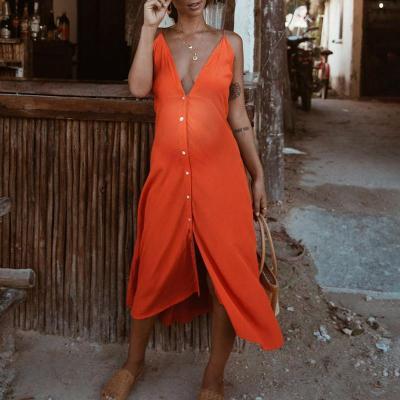 Maternity Deep V-Neck Plain Loose Casual Dress