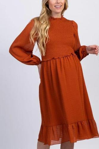 Maternity Casual Round Neck Solid Color Lace Long Sleeve Dress