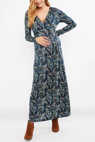 Maternity Modest V Neck Printed Colour Long Dress