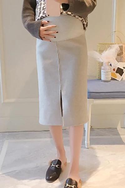 Maternity Casual solid colour split skirt