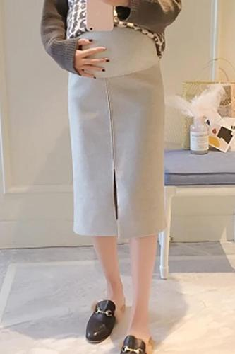 Maternity Casual solid colour split skirt