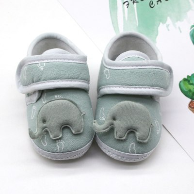 Infant Newborn Baby Girls Boy Prewalker Printing Elephant Applique Single Shoes High Quality Cotton Comfortable Daily