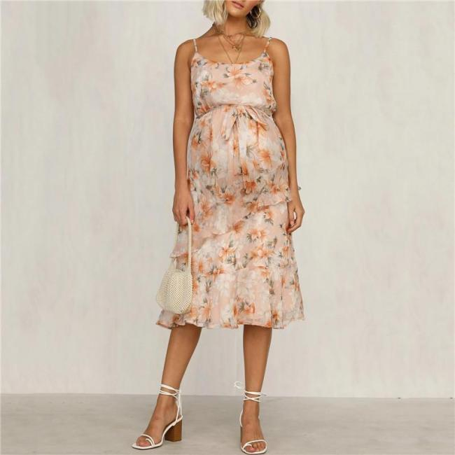 Maternity Sling Printed Ruffled Dress