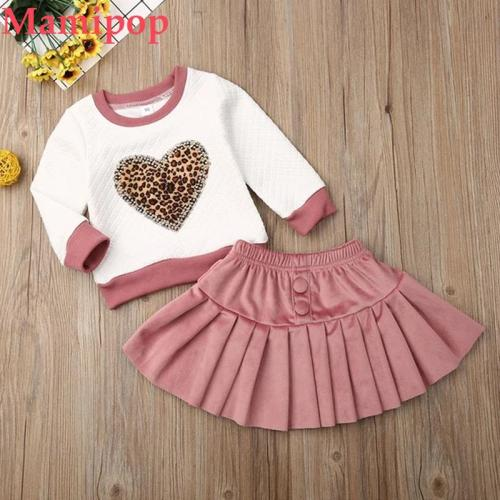 1-6Y Autumn Baby Girl Outfit Long Sleeve Leopard  Sets
