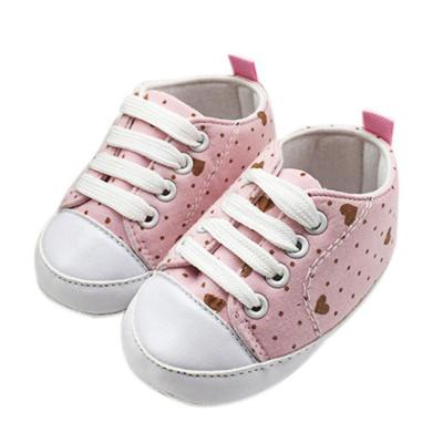 Baby Girls Polka Dots Heart Autumn Lace-Up First Walkers Sneakers Shoes Toddler Classic Casual Shoes