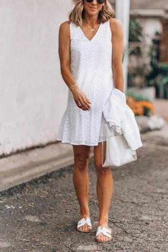 Maternity Casual Hollow Out Sleeveless Dress