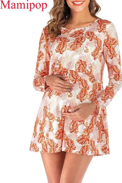 Summer Long Sleeve Lactation Maternity Short Dress
