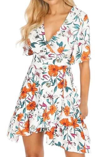 European And American Printed Color Short Sleeve Ruffled  Dress