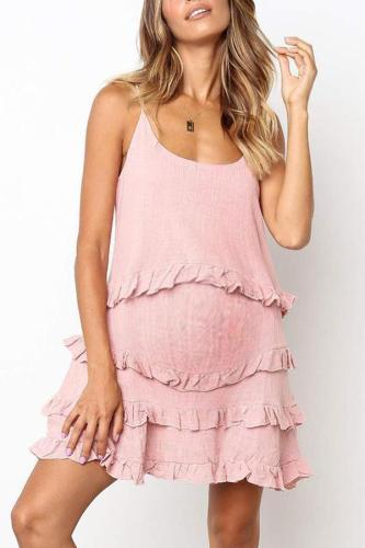 Maternity Plain Falbala Spaghetti Strap Casual Dress