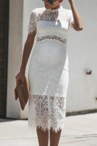 Maternity O-Neck Hollow Lace Dress