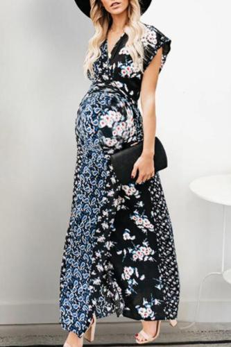 Maternity V-Neck Printing Patchwork Long Dress