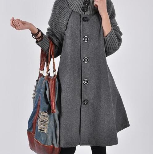 Autumn Winter Fashion Loose Thicken Pure Color Cloak Single-breasted Coats