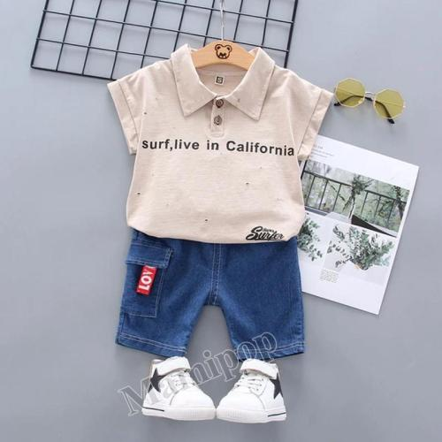 2020 summer new small and medium-sized boys and girls casual hundred cartoon  two-piece set
