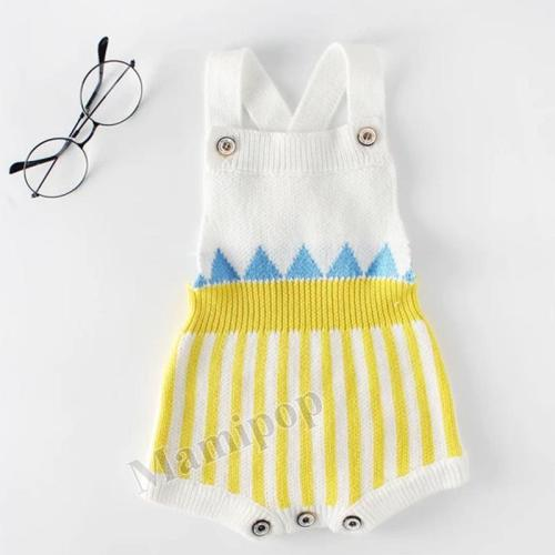 2020 Spring Striped Baby Knitting Wool Bodysuit Bag Fart Kazakhstan Creeper