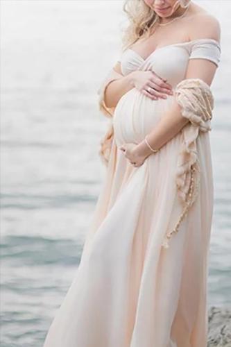 Maternity Elegant V Neck  Ankle-Length Pure Colour Dress